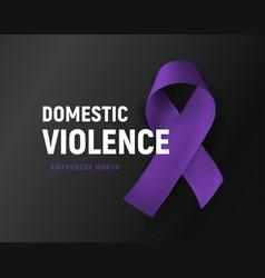 Domestic violence banner purple ribbon against vector