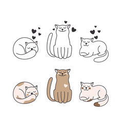 doodle cats collection vector image