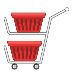 Double shopping cart icon cartoon style vector