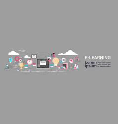 e-learning education online background with copy vector image