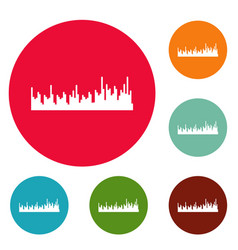 equalizer audio icons circle set vector image