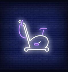 Exercise bike neon sign vector