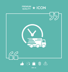 express delivery icon delivery car with watch vector image
