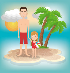 father with daughter on the beach vector image