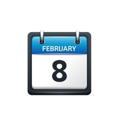 february 8 calendar icon flat vector image