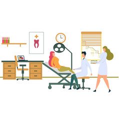 female patient sitting in dentist chair with lamp vector image