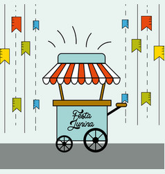 Festa junina with flags party with fast food car vector