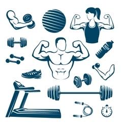 Fitness Monochrome Elements Set vector image