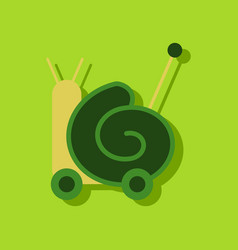 Flat icon design collection toy snail silhouette vector