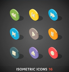 Flat isometric icons set 16 vector