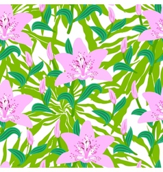 Floral pattern with tropical big pink lily flowers vector image
