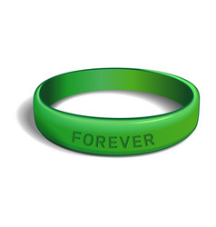 Forever green plastic wristband vector