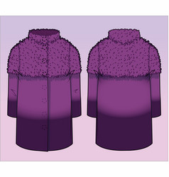 Front and back view of a stylish coat vector