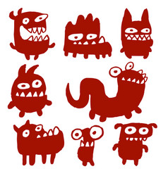 Funny red flat monsters vector