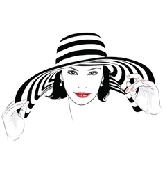 Girl with dark hair in big striped hat - vector image