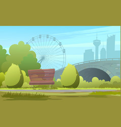 green city park backdrop of vector image