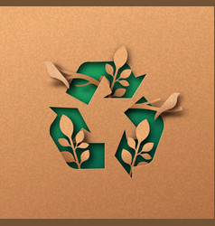 Green recycle icon eco papercut nature concept vector
