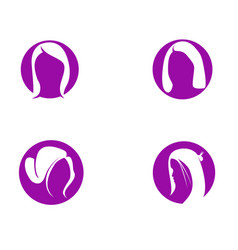 hair woman and face logo and symbols vector image