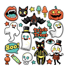 Halloween set of patches in cartoon comic style vector