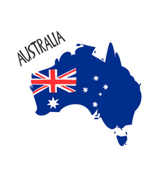 hand drawn stylized map australia with flag vector image