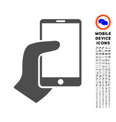 Hand hold smartphone icon with set vector