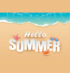 hello summer beach top view travel and vacation vector image