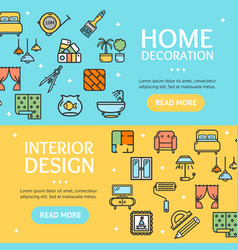 Home decor signs banner horizontal set vector