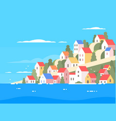 Houses on coast of greece vector