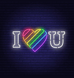 i love you neon lettering the heart is painted in vector image