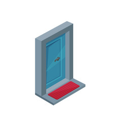 isometric icon of blue wooden entrance door vector image