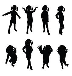 Kids silhouette black vector