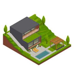 Landscape design villa composition vector