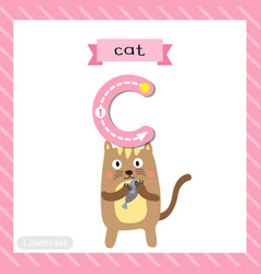 Letter c lowercase tracing standing cat holding vector