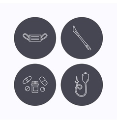Medical mask pills and scalpel icons vector image