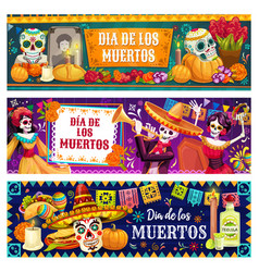 Mexican day dead altar sugar skulls skeletons vector