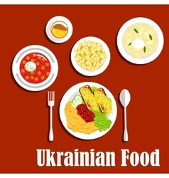 National ukrainian cuisine dishes set vector image