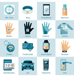 Nfc technology icons set flat style vector