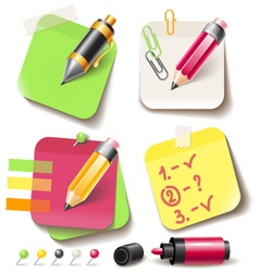 Note paper post with pencil vector image vector image