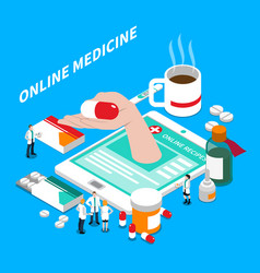 Online medicine isometric composition vector