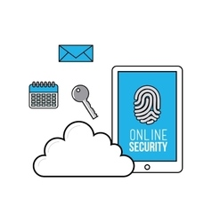 online security flat line icons vector image