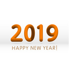 orange 2019 symbol happy new year isolated on vector image