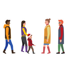 people dressed in warm clothes vector image