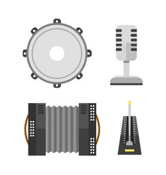 piano keyboard accordion microphone tambourine vector image
