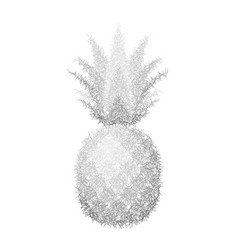 Pineapple grunge with leaf tropical silver exotic vector