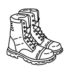Police tactical boots icon doodle hand drawn or vector