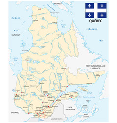 province quebec road map with flag vector image