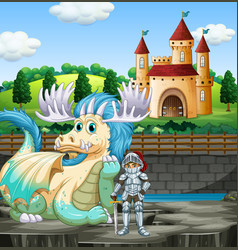 scene with knight and dragon at castle vector image