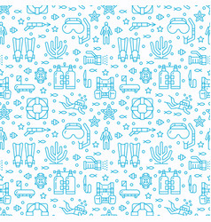 scuba diving snorkeling seamless pattern water vector image