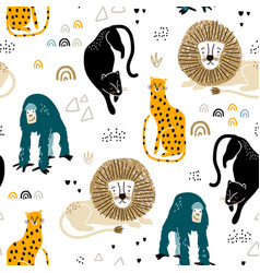 seamless jungle pattern with african animals vector image