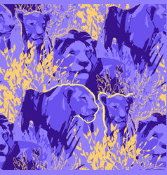 Seamless pattern lion pride among grass and vector